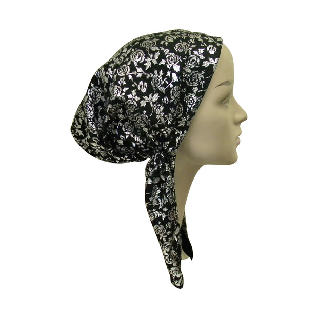 Textured Pretied Bandana with Pattern Black With Flowers