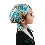 Printed Headscarf for Kids Pretied Cancer Cap - Tiger Blue
