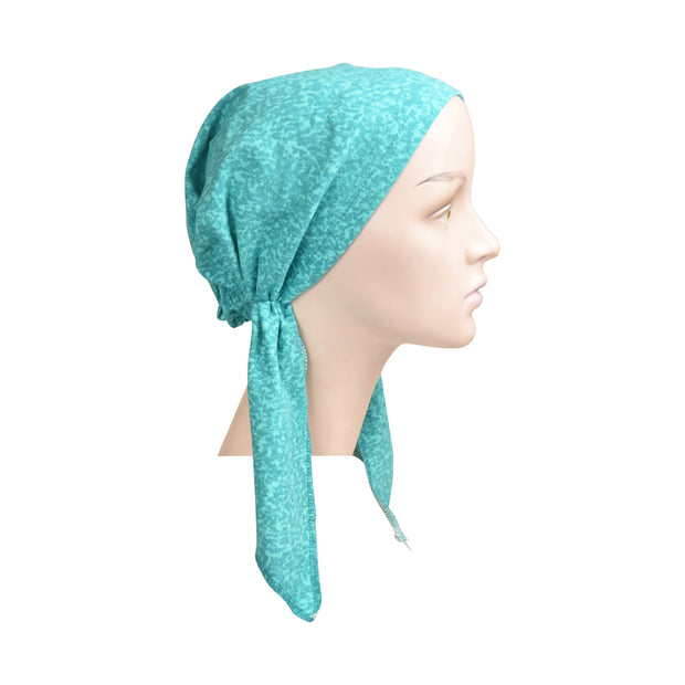 Cotton Soft Ladies Pre Tied Bandana Chemo Cap Headscarf Turquoise Marble