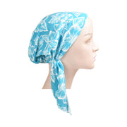 Cotton Soft Ladies Pre Tied Bandana Chemo Cap Headscarf Turquoise With White