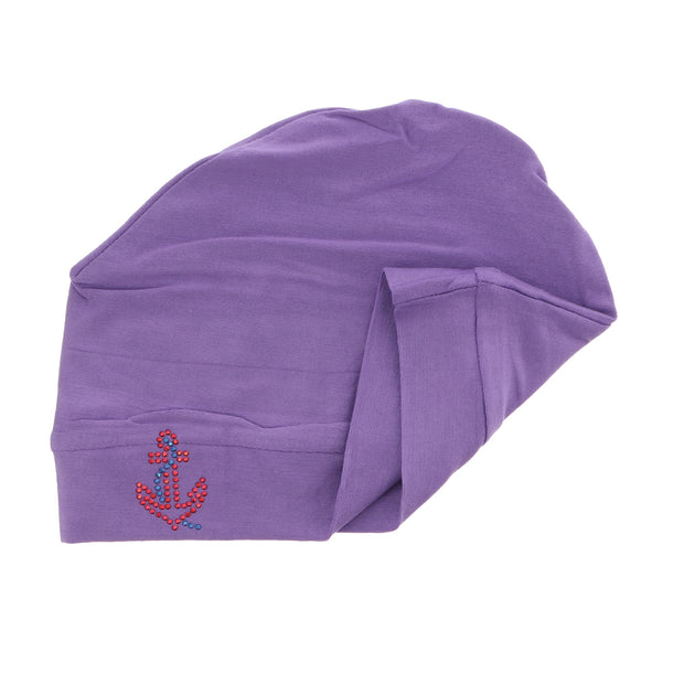 Sleep Cap / Wig Liner with Red Stud Anchor Applique
