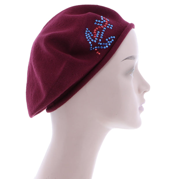 Ladies Beret with Anchor Applique