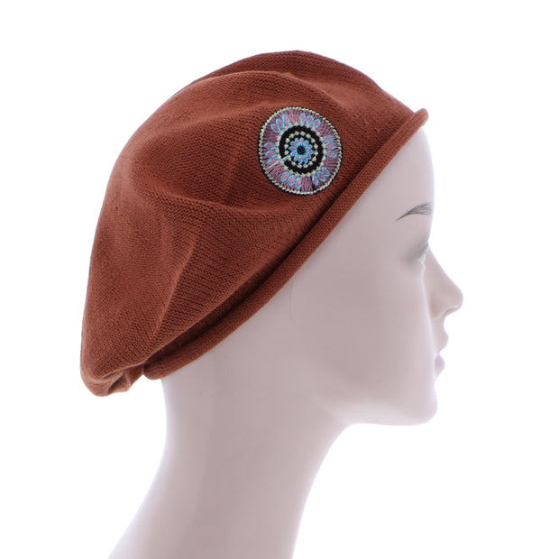 Landana Headscarves 100% Cotton Beret French Ladies Hat with Tribal Bling