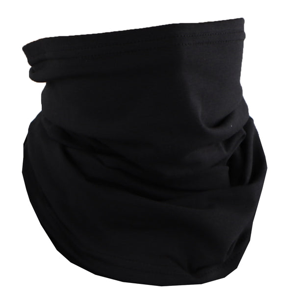 Cotton Stretch Neck Gaiters Multi Use Scarf (Solid Black)