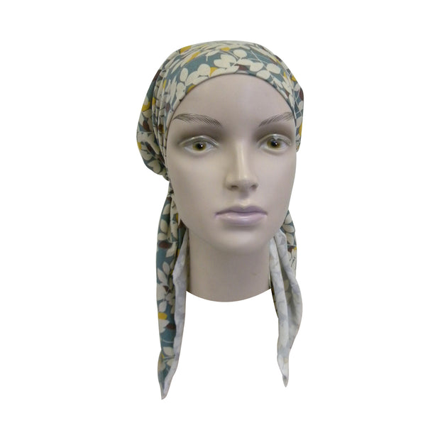 Pretied Head Scarf Cancer Chemo Cap Printed Headcover Blue