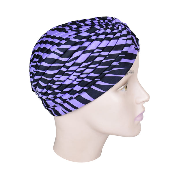 Animal Print Turban Twist Pleated Hair Wrap Stretch Turban Womens Head Cover