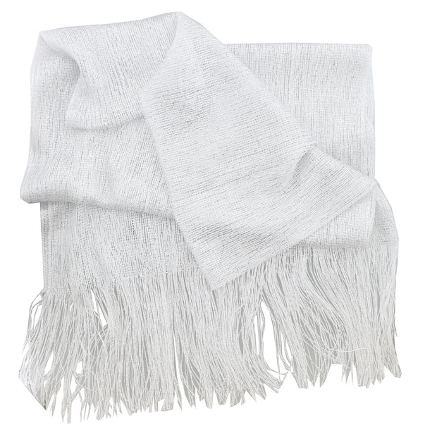 Sheer Oblong Headscarf with Lurex and Fringes