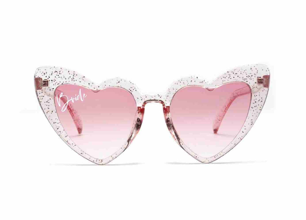 Pink Glitter Bride Heart Shaped Sunglasses