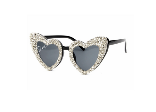 Bride glitzy rhinestone heart shaped glasses