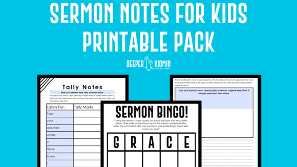 Sermon Notes for Kids Printable Pack