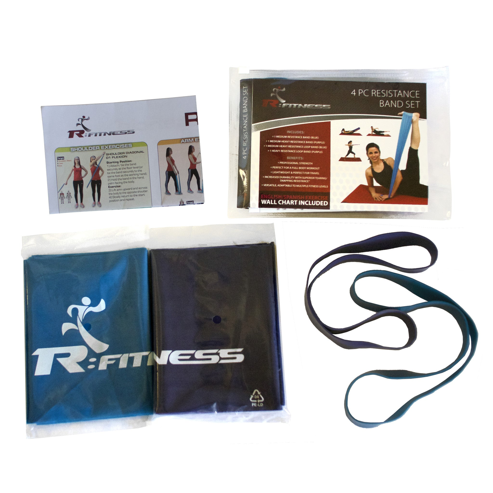 R:Fitness 4pc Resistance Band Set