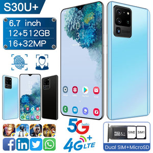"E1 S30U+ Smartphone Android 9.0 8GB RAM 128GB ROM 3000mAh MTK6580P 8 core CPU 6.3""Waterdrop Screen mobile phone S20+ Free Shipping"