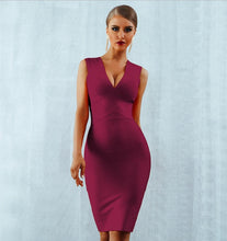 Load image into Gallery viewer, GLORIA - Wine Red Bandage Dress