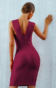 GLORIA - Wine Red Bandage Dress