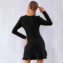 Load image into Gallery viewer, JANET - Black Winter Bandage Dress