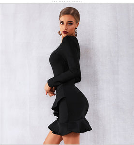 JANET - Black Winter Bandage Dress