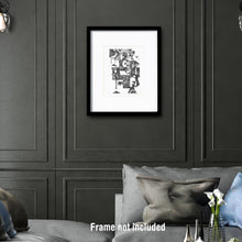 Load image into Gallery viewer, Original art for sale. Imaginative drawing of a man with a lot going on.