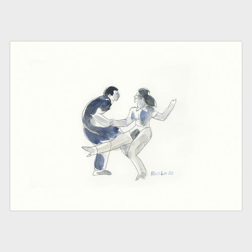 Original art. Playful line and washes of a couple dancing create a spirited composition.