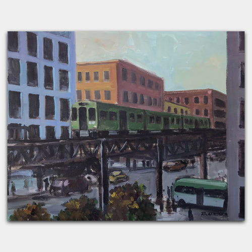 Original art for sale-Realistic painting of busy city intersection