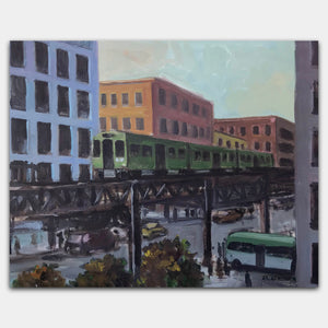 Original art for sale-Realistic painting of busy city intersection.
