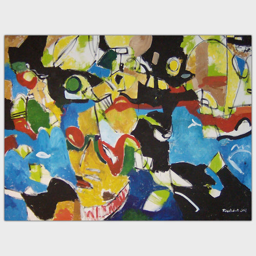 Original art for sale-Abstract expressive composition of people wearing masks at a party