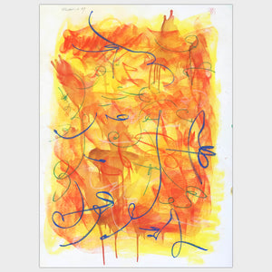 Original for sale-Expressive abstract composition pastel lines over oil wash