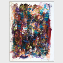 Load image into Gallery viewer, Original art for sale-Abstract drawing features a combination of pastel lines and oil wash