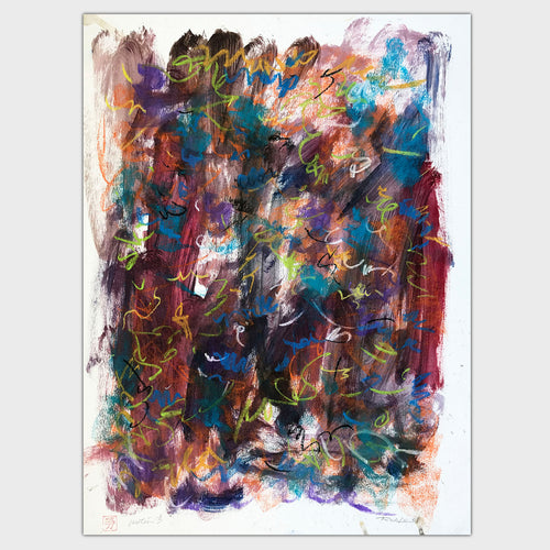 Original art for sale-Abstract drawing features a combination of pastel lines and oil wash