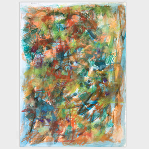 Original art for sale-Expressive abstract composition pastel lines over oil wash