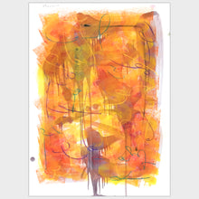 Load image into Gallery viewer, Original art for sale-Expressive abstract composition pastel lines over oil wash