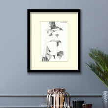 Load image into Gallery viewer, Original art for sale. Imaginative sketch of a man wear in hat and a trench coat.