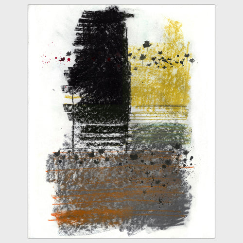 Original art for sale-Expressive abstract composition of a landscape of trees, roads and structures