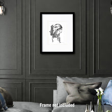 Load image into Gallery viewer, Original art for sale. Imaginative drawing of a banker in a pin stripes suit.