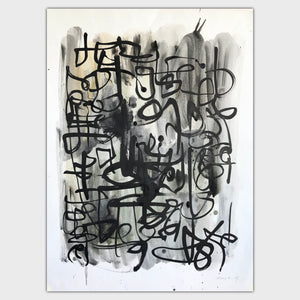 Original art for sale-Spontaneous ink strokes created with a large brush over an oil wash form the perfect partnership