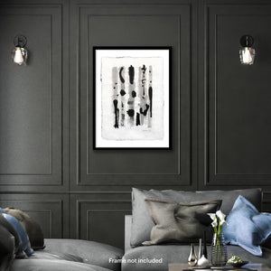 Original art for sales-Abstract compositions using large ink strokes and subtle washes