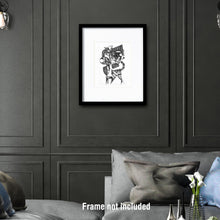 Load image into Gallery viewer, Original art for sale. Imaginative drawing of a woman sitting on a small chair.