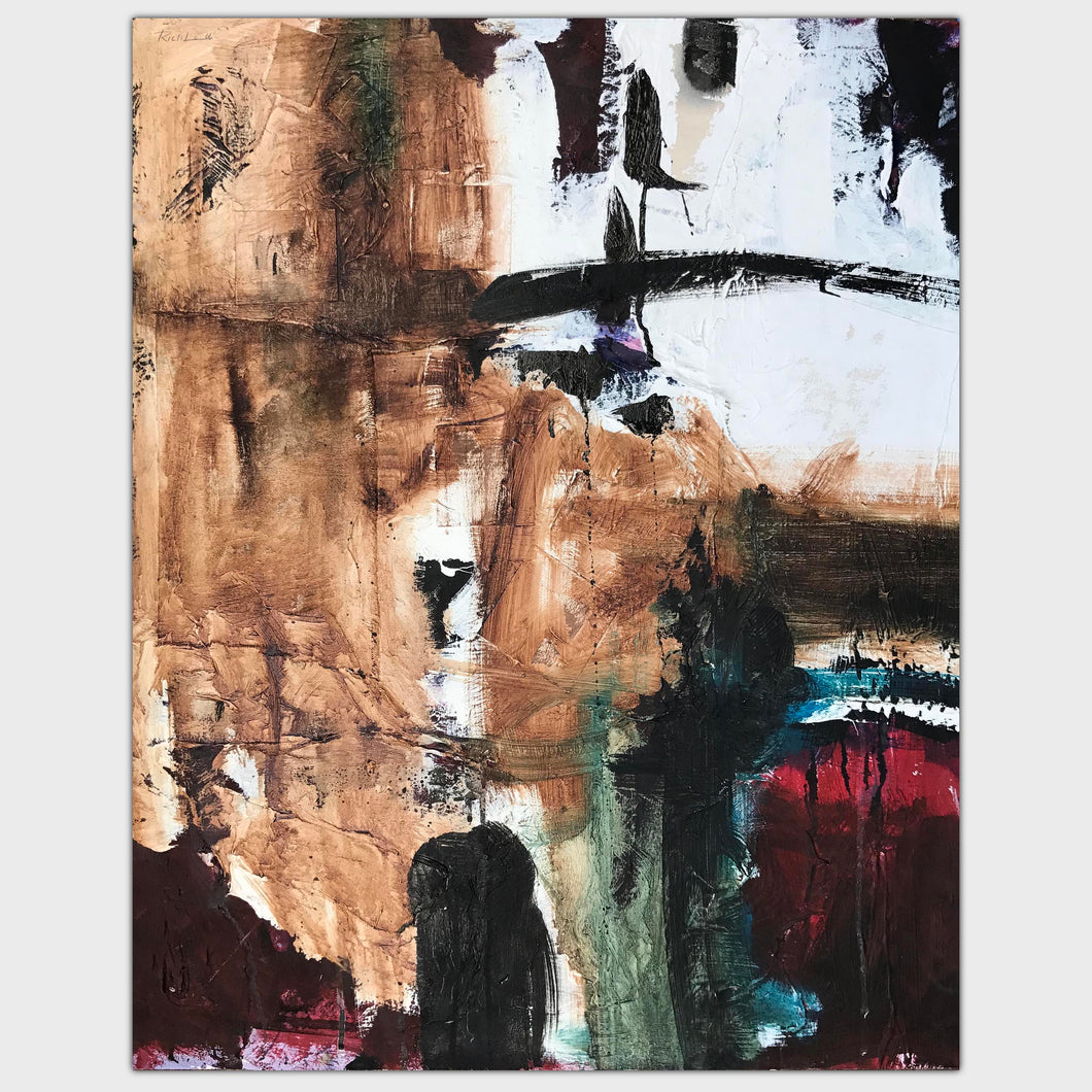 Original art for sale-Abstract expressive composition of broad brush strokes and drips over glued materials