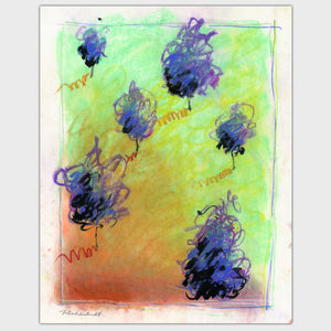 Original art for sale-Abstract landscape features a combination of pastel, ink and conte