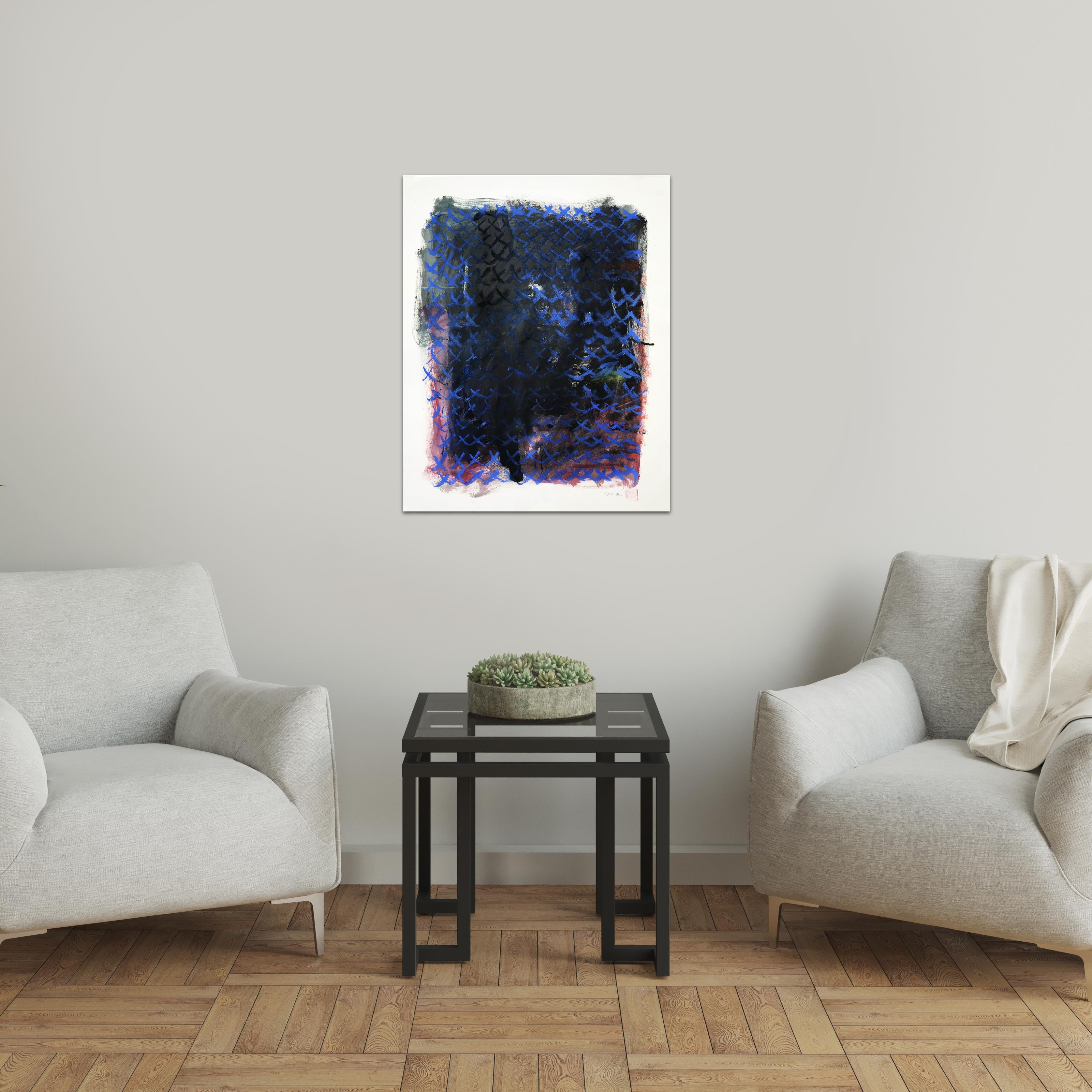 Original art for sale-Abstract composition with pastel lines on rich oil wash