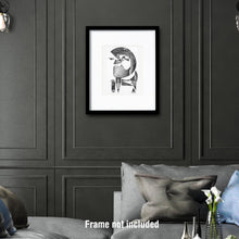 Load image into Gallery viewer, Original art. Imaginative drawing of a writer.