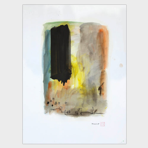 Original art for sale-Abstract landscape of structures and trees created with strokes and washes.