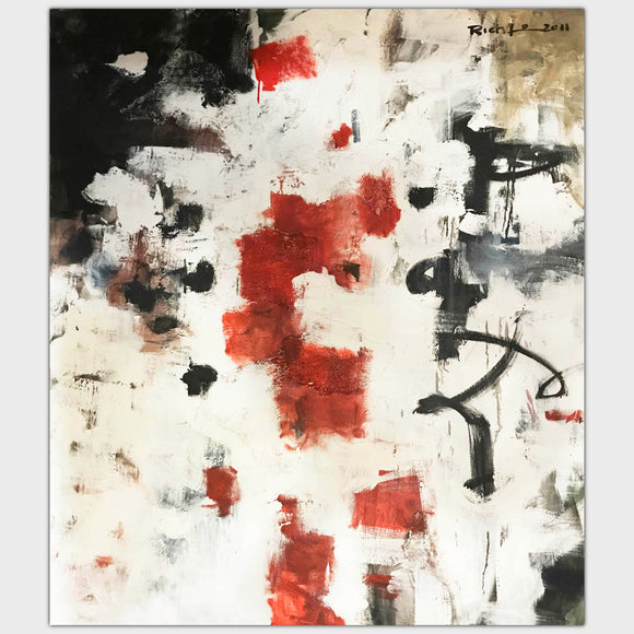 Original art for sale. Abstract composition of broad black and red strokes over white texture.