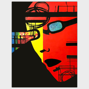 Original art for sale-Graphic surreal painting of a face with futuristic vision glasses