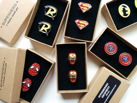 Wedding party Superheroes Cufflinks set of 7 - without boxes