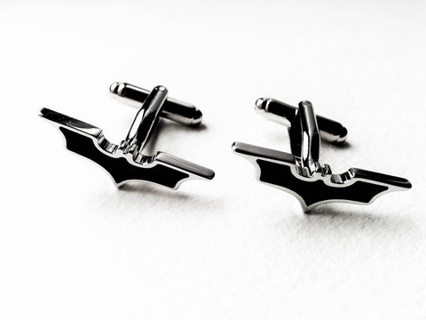 Batman symbol Cuff Links - stainless steel and black - 1 pair