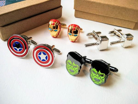 Wedding party Cufflinks set of 4 Avengers superheroes Grey Boxes Superhero a mission awaits T3-GRSU-4