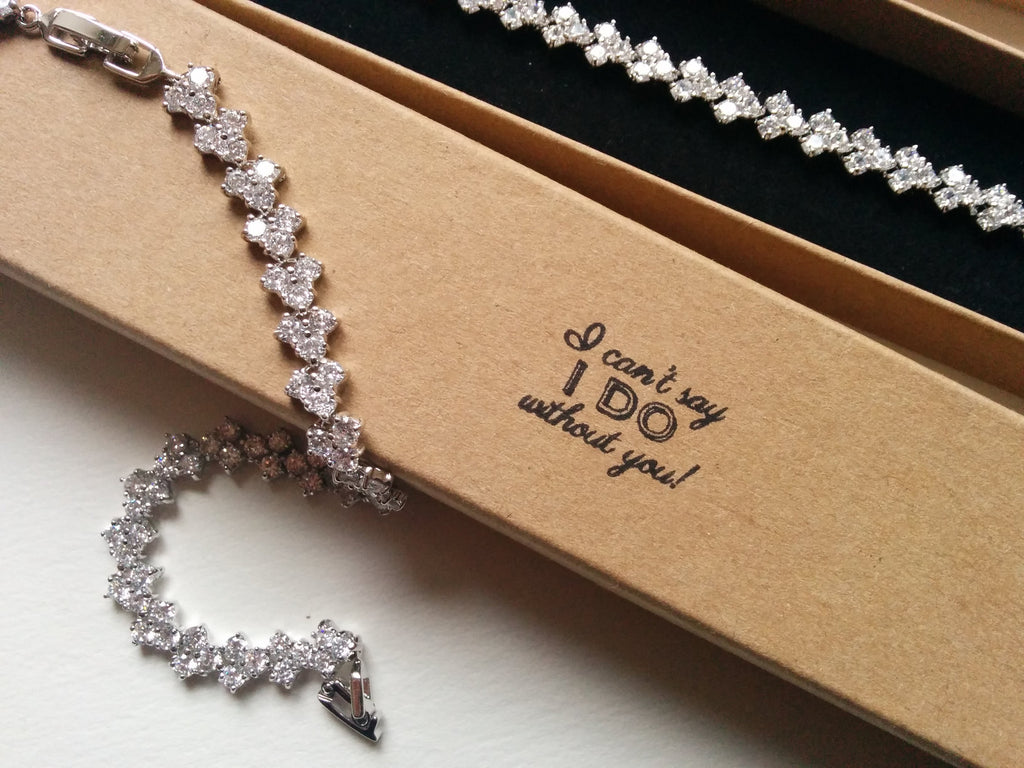 Bridesmaids gifts Set of 5 diamond silver bracelets with personalised boxes