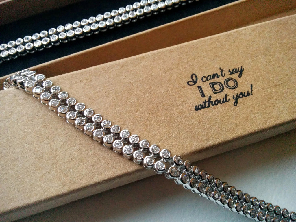 Bridesmaids gifts Set of 5 diamond bracelets with personalised boxes