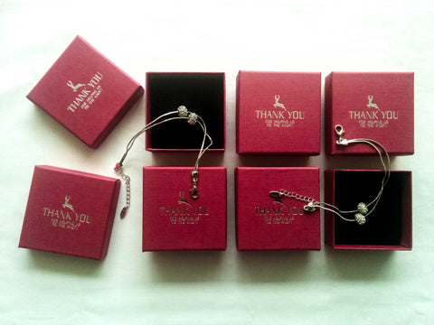 Bridesmaids gifts Set of 6 silver chain bracelets with personalised boxes