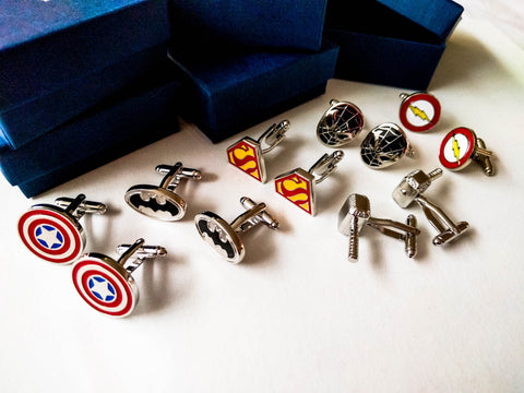 Wedding party Superheroes Cufflinks set of 6 for groomsmen gifts with 6 boxes